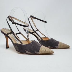 Manolo Blahnik Gray Embroidered Cap-toe Pumps Heel